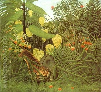 Fight between a Tiger and a Buffalo 1908 - Henri Rousseau reproduction oil painting