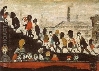 Children on the Steps - L-S-Lowry reproduction oil painting