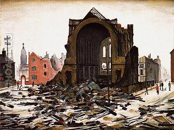 Saint Augustine Church Manchester 1945 - L-S-Lowry reproduction oil painting