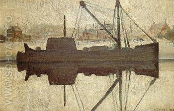Coal Barge on a Canal at Worsley 1946 - L-S-Lowry reproduction oil painting