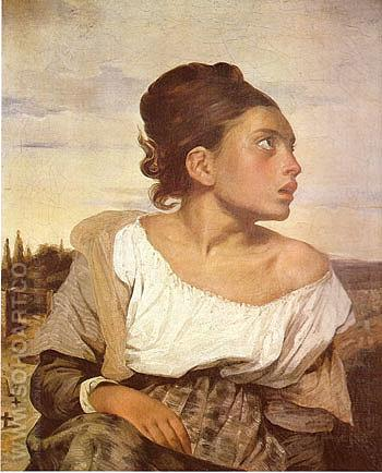 Orphan Girl at the Cemetery 1823 - F.V.E. Delcroix reproduction oil painting
