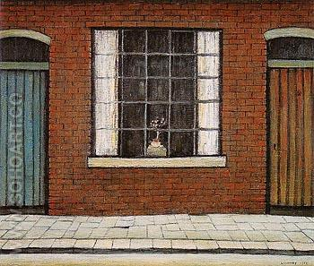 Flowers in a Window 1956 - L-S-Lowry reproduction oil painting