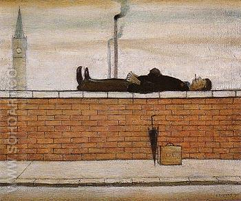 Man Lying on a Wall 1957 - L-S-Lowry reproduction oil painting