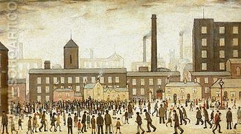 Outside the Mill The Meeting 1928 - L-S-Lowry reproduction oil painting