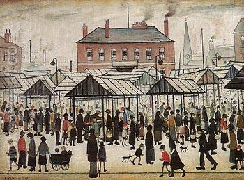Market Place Northern Town 1934 - L-S-Lowry reproduction oil painting
