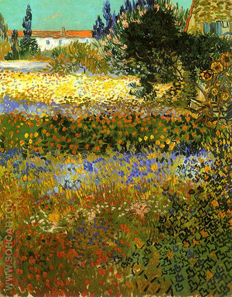 Garden in Bloom 1888 - Vincent van Gogh reproduction oil painting