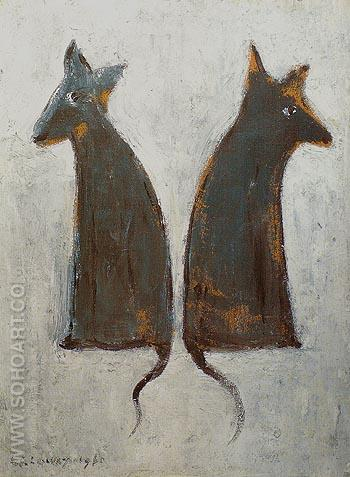 Two Dogs 1961 - L-S-Lowry reproduction oil painting