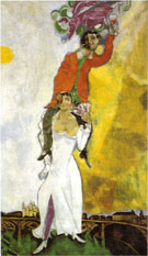 Double Portrait with Wineglass Bella and Marc 1917 - Marc Chagall