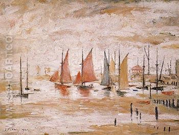 Sailing Boats 1930 - L-S-Lowry reproduction oil painting