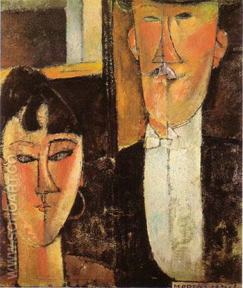 Bride and Groom c 1915 - Amedeo Modigliani reproduction oil painting
