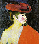 The Red Shawl 1909 - Alexei von Jawlensky reproduction oil painting