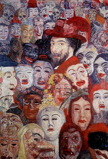 Portrait of the Artist Surrounded by Masks 1889 - James Ensor reproduction oil painting