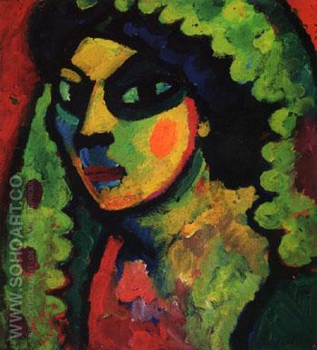 Sicillian Woman with Green Shawl 1912 - Alexei von Jawlensky reproduction oil painting