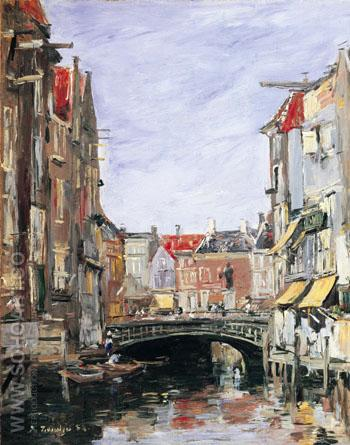 La Place Ary Scheffer, Dordrecht - Eugene Boudin reproduction oil painting