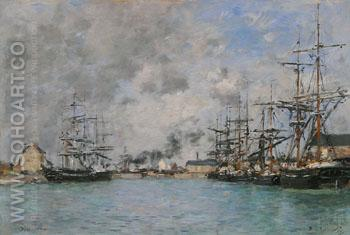 The Basin, Deauville c1880 - Eugene Boudin reproduction oil painting