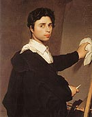 Copy after Ingres s 1804 Self Portrait - Jean-Auguste-Dominique-Ingres reproduction oil painting
