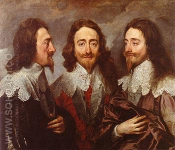 Triple Portrait of Charles I 1635 - Van Dyck reproduction oil painting