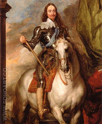 Charles I on Horseback with Monsieur de St Antoine 1633 - Van Dyck reproduction oil painting