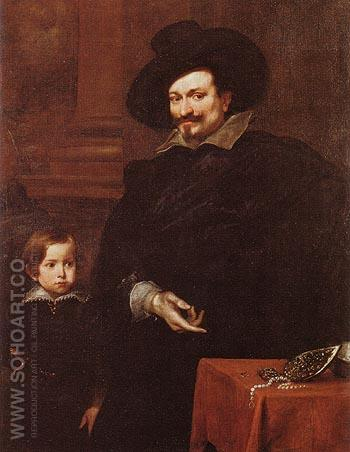 The Jeweller Pucci and his Son - Van Dyck reproduction oil painting