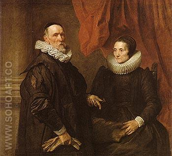 The Painter Jan de Wael and is Wife 1629 - Van Dyck reproduction oil painting