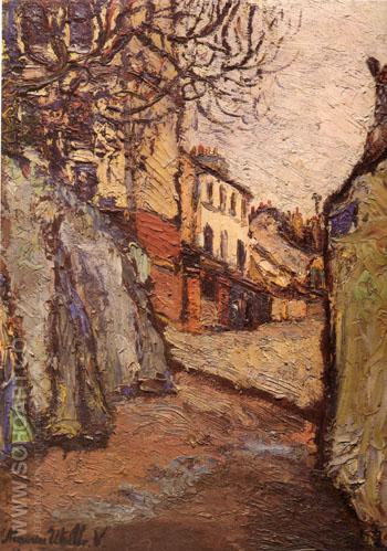 Rue Cortot Montmatre 1909 - Maurice Utrillo reproduction oil painting