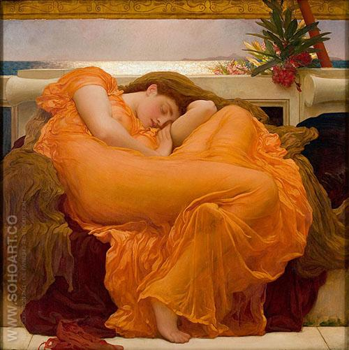 Flaming June c1895 - Frederick Lord Leighton reproduction oil painting