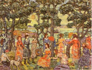 Landscape with Figures 1921 - Maurice Prendergast reproduction oil painting