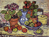 Cinerarias and Fruit 1912 - Maurice Prendergast reproduction oil painting