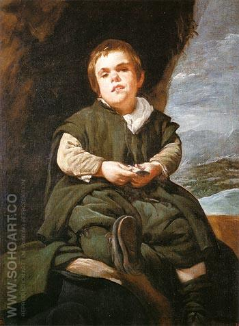 The Dwarf Francisco Lezcano EI Nino de Vallecas 1643 - Diego Velasquez reproduction oil painting