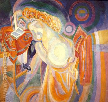 Nude Woman Reading 1915 - Robert Delaunay reproduction oil painting
