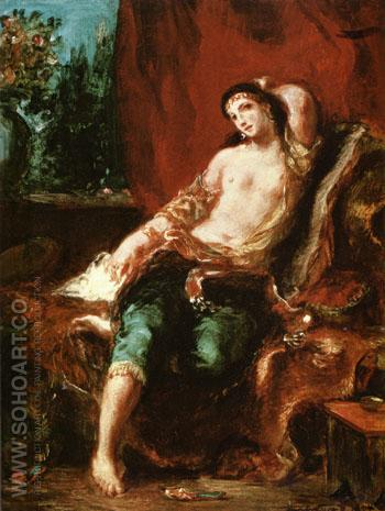 Odalisque 1857 - F.V.E. Delcroix reproduction oil painting