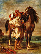 Arab Saddling His Horse 1855 - F.V.E. Delcroix reproduction oil painting