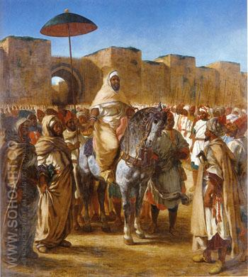 The Sultan of Morocco and his Entourage 1845 - F.V.E. Delcroix reproduction oil painting