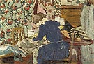 Interior Marie Leaning Over Her Work - Edouard Vuillard reproduction oil painting