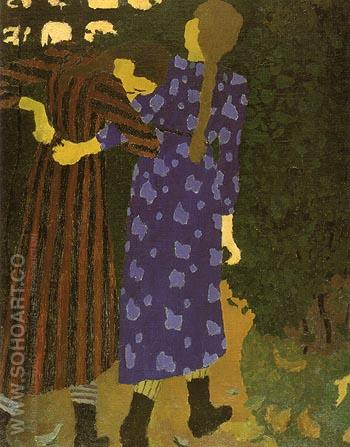 Young Girls Walking 1891 - Edouard Vuillard reproduction oil painting