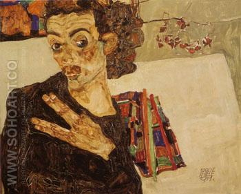 Self Portrait with Black Clay Vase and Spread Fingers - Egon Scheile reproduction oil painting