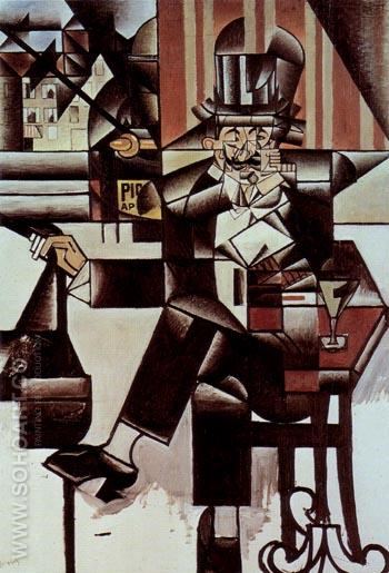 Man in the Cafe 1912 - Juan Gris reproduction oil painting