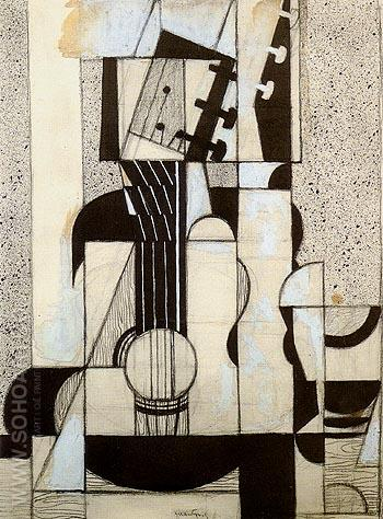 Still Life with Guitar c1912 - Juan Gris reproduction oil painting
