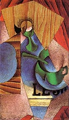 Glass Cup and Newspaper 1913 - Juan Gris reproduction oil painting
