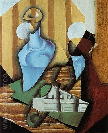 Still Life with Bottle and Glass 1914 - Juan Gris reproduction oil painting