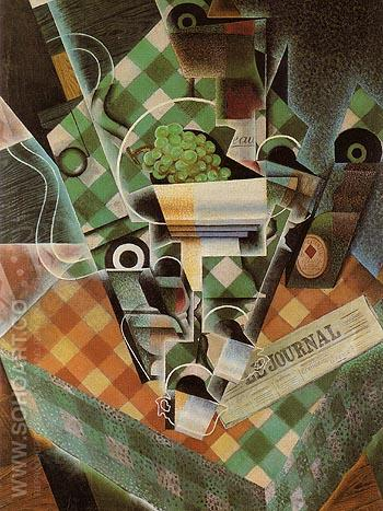 Still Life with Checkered Table Cloth 1915 - Juan Gris reproduction oil painting