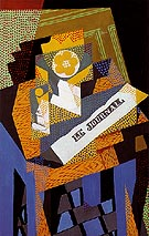 Newspaper and Fruit Dish 1916 - Juan Gris reproduction oil painting