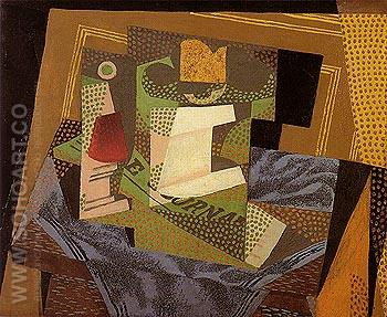 Fruit Dish on a Blue Tablecloth 1916 - Juan Gris reproduction oil painting