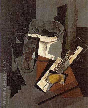 Fruit Dish Glass and Lemon 1916 - Juan Gris reproduction oil painting