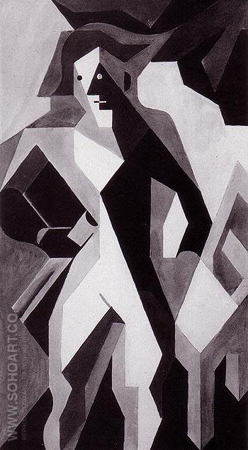 Standing Harlequin Harlequin with a Chair 1919 - Juan Gris reproduction oil painting