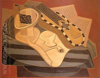 The Guitar with Inlay 1925 - Juan Gris reproduction oil painting