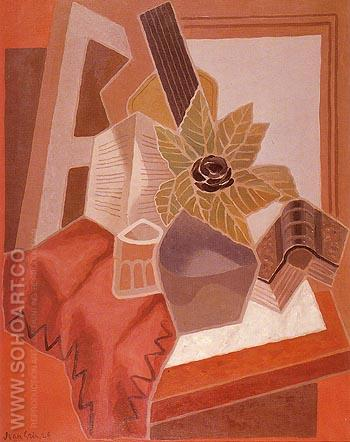 The Flower on the Table 1925 - Juan Gris reproduction oil painting