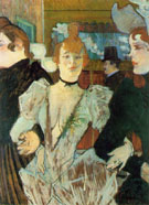 La Goulue Arriving at the Moulin Rouge with Two Woman 1892 - Henri De Toulouse-lautrec reproduction oil painting