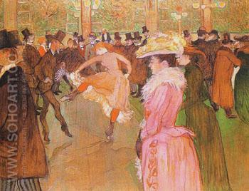 At the Moulin Rouge The Dance 1890 - Henri De Toulouse-lautrec reproduction oil painting