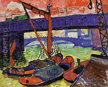 Barges on the Thames Cannon Street Bridge 1906 - Andre Derain reproduction oil painting
